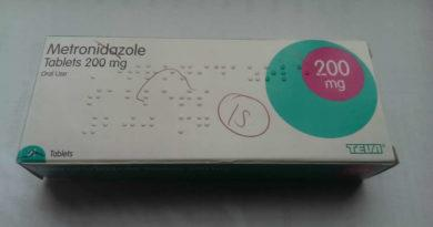 Box of 200mg Metronidazole antibiotic