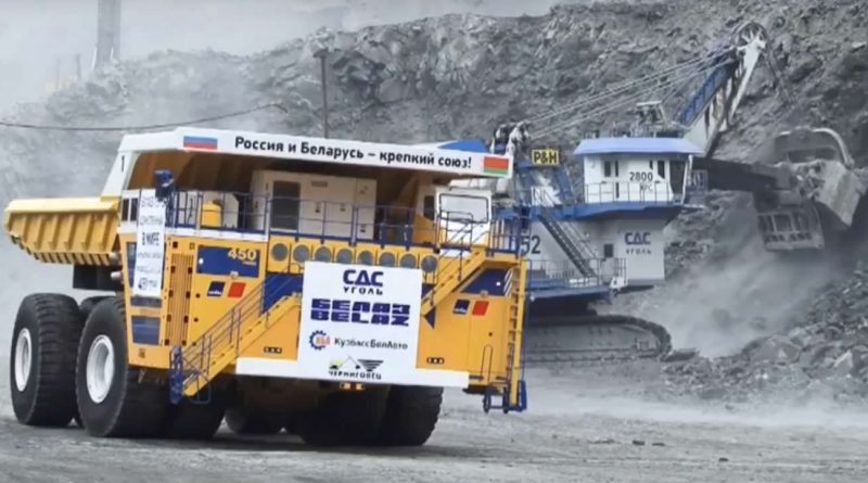 The biggest dump truck in the world seen from the front