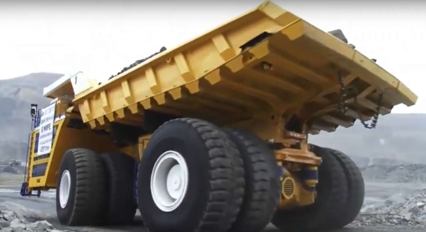 The biggest dump truck in the world seen from the rear
